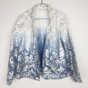 CHICO'S Ombre Silver Damask White & Blue Jacket 2